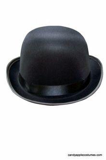 Adult Black Permasilk Bowler Hat