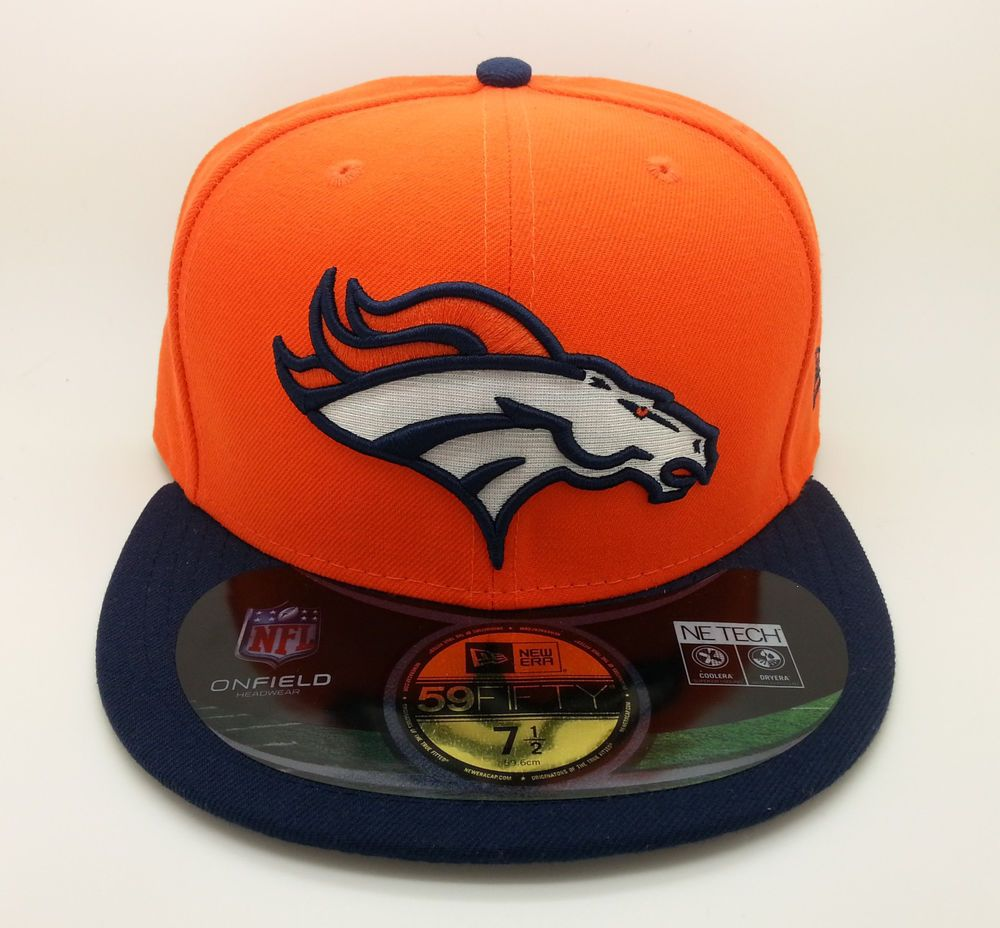 DENVER BRONCOS NFL ON FIELD NEW ERA 59 FIFTY FITTED HAT CAP (SIZE 7 1 2) --  NEW… 29b9c59bc