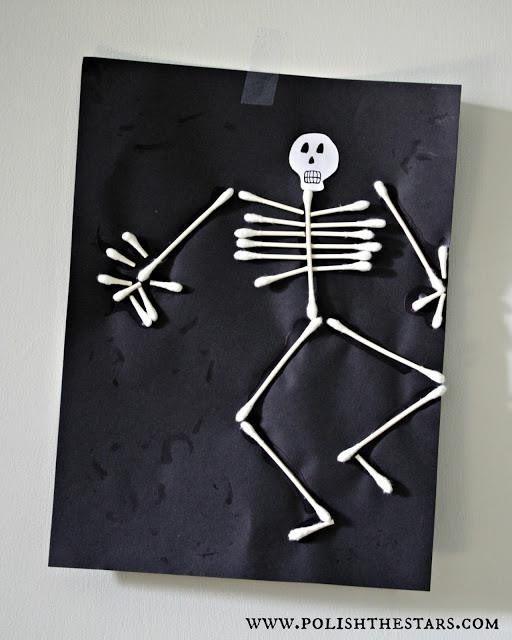 halloween craft q tip cotton swab skeleton man awesome kindergarten first grade young kid craft class