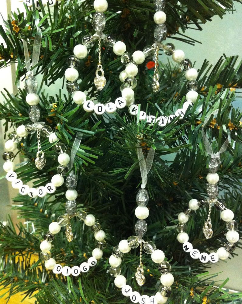 Personalised-Xmas Tree-Decorations-Handmade-Glass Beads-any Colour ...