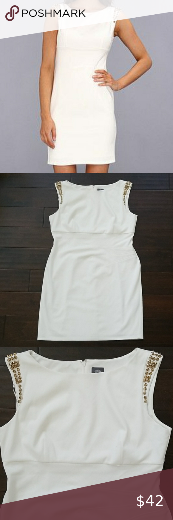 Vince Camuto White Dress With Gold Studs White Dress Clothes Design Dresses [ 1740 x 580 Pixel ]