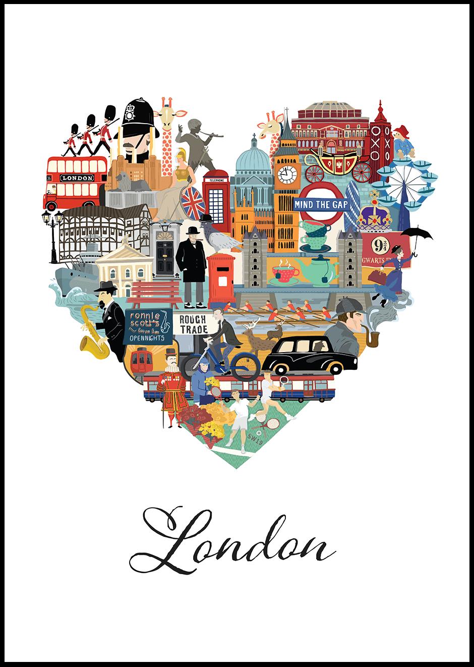 Poster design london - A Heart Shape Love London Poster Design