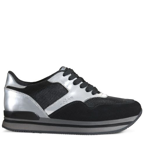 Hogan sneakers donna in pelle nero/ argento
