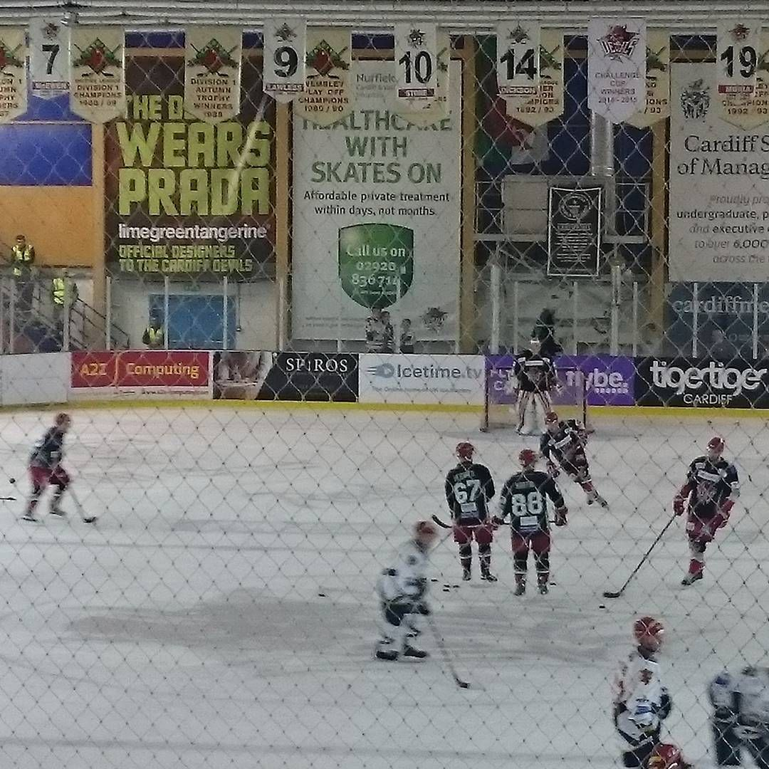 "Sue Dray on Instagram: ""Hockey night in Cardiff....warm up under way. #letsgodevils #Cardiffdevils"""
