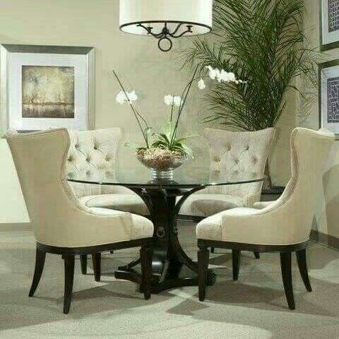 Pin By Debora Mohaole On Home Improvements Round Dining Room Table Elegant Dining Room Round Glass Dining Room Table