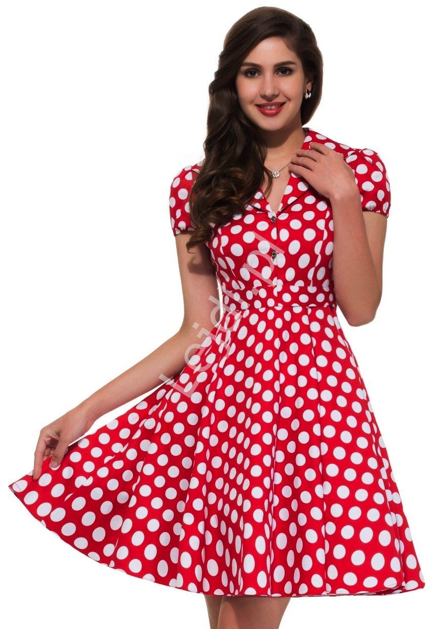 2772721664 Czerwona rozkloszowana sukienka w białe duże kropki
