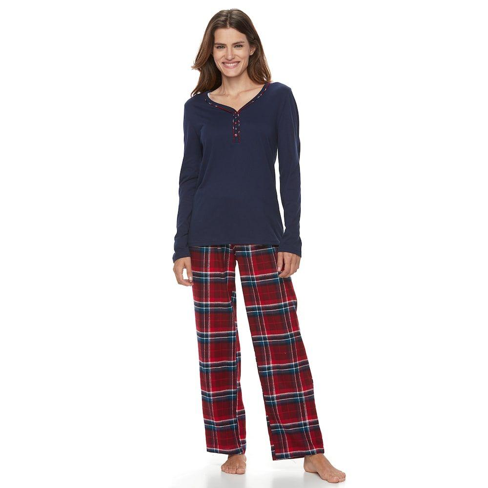 Red flannel pajamas  Croft u Barrow Petite Pajamas Henley u Flannel Pants PJ Set  Products