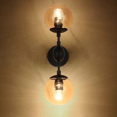 Antique Vintage Tea Glass Globe Shade Indoor Wall Lights Black Metal ...