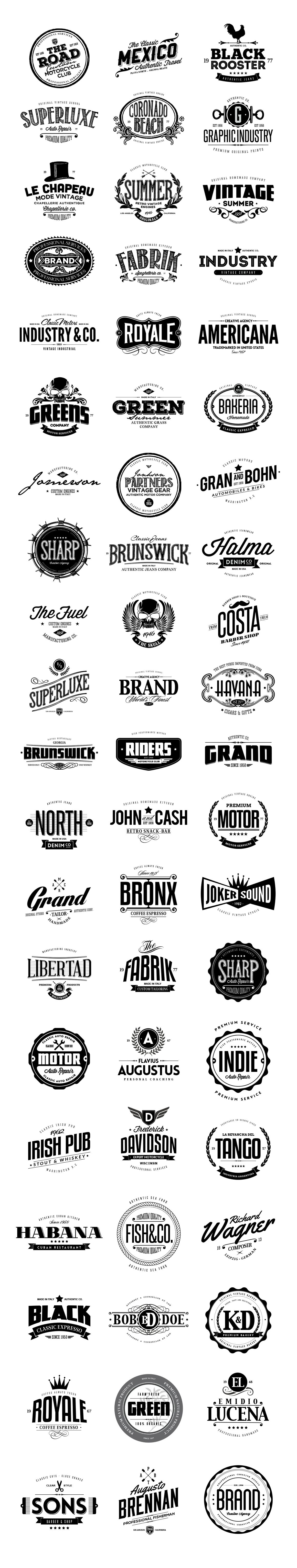 60 Premium Badges & Logos bundle, perfect for poster, sticker, packaging product design, t-shirt design, corporative identity and much more! Each Badge & Logo have been created with care