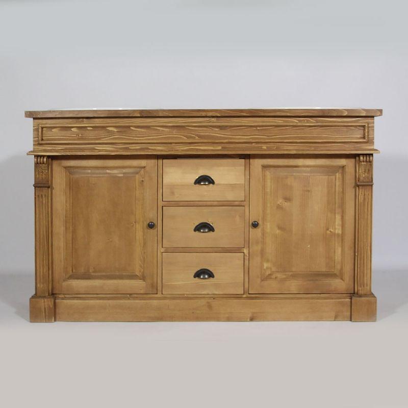 Meuble salle de bain bois ciré miel 2 vasques, 2 portes 3 tiroirs - Meuble De Salle De Bain Sans Vasque