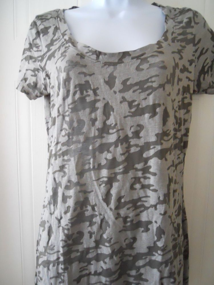 City Strats Womens Top Green Camoflague Short Sleeve Size Large #CityStrats #KnitTop #Casual