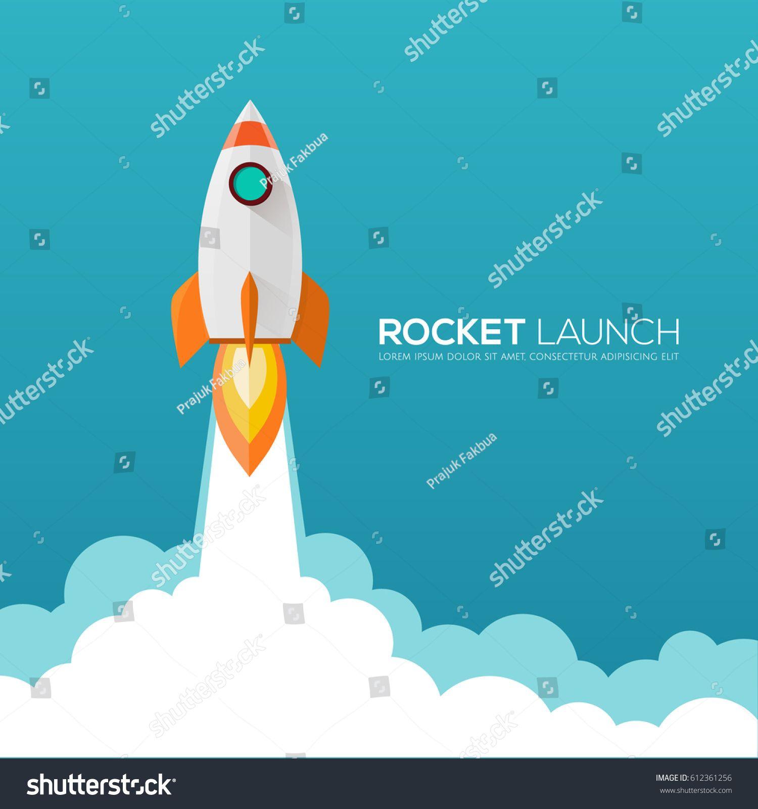Rocket Launch, Ship.vector Illustration Concept Of