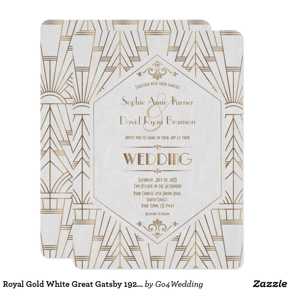 Royal Gold White Great Gatsby 1920s Wedding Invitation Zazzle Com In 2021 Art Deco Wedding Invitations 1920s Wedding Invitations Gatsby Wedding Invitations