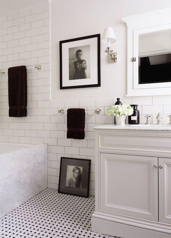 Photo of Black and white bathroom lights