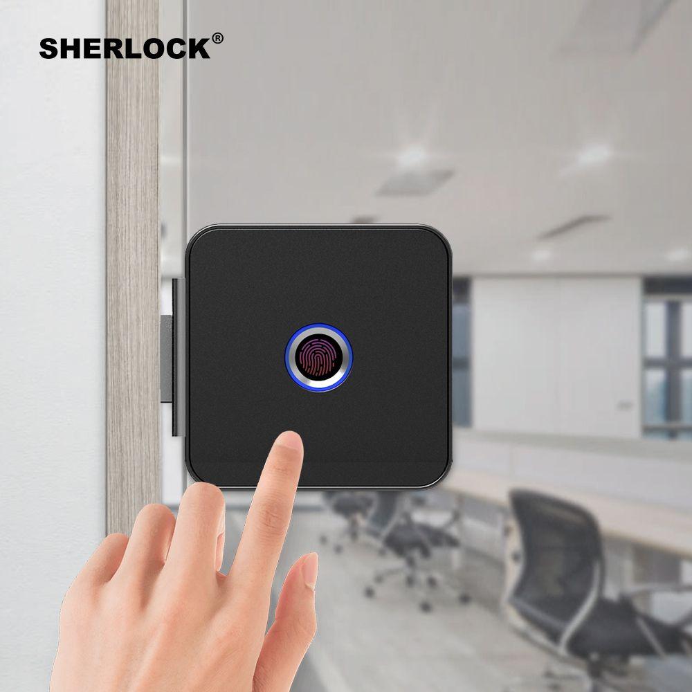 Sherlock Smart Lock Glass Door Lock Office Keyless Fingerprint Verification With Bluetooth App Remote Control Glass Door Lock Smart Lock Fingerprint Door Lock
