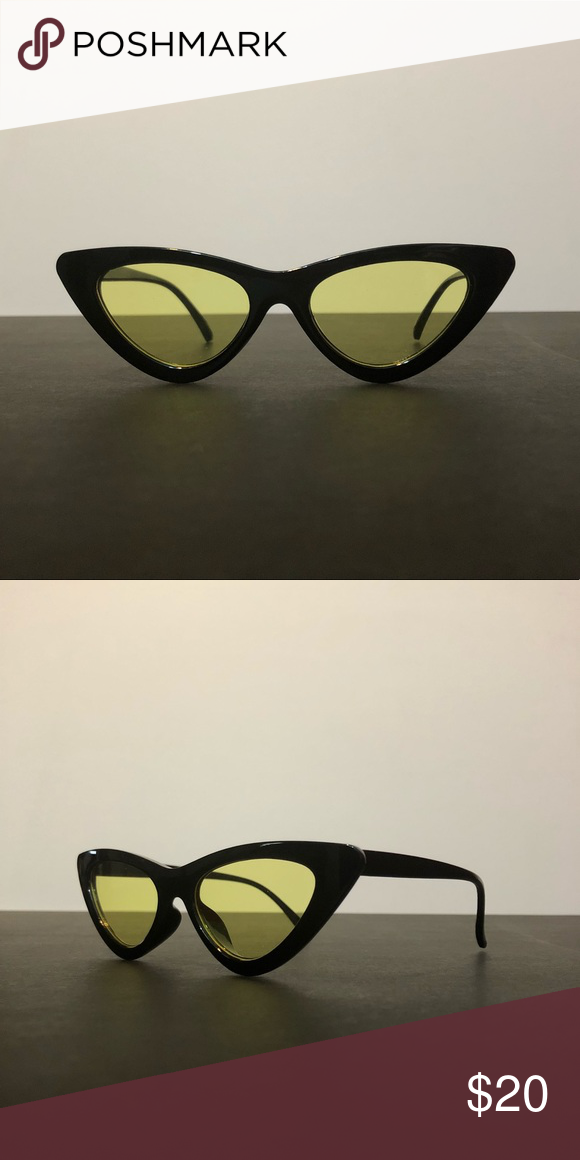 9f09a16892 Retro Geometric Cat Eye Triangular Sunglasses retro triangle vintage  sunglasses • cat eye black frame • yellow tinted lenses • brand new  )  comes with a ...