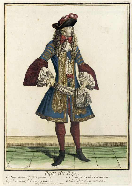 """1675 French Fashion plate """"Recueil des modes de la cour de France, 'Page du Roy'"""" at the Los Angeles County Museum of Art, Los Angeles"""