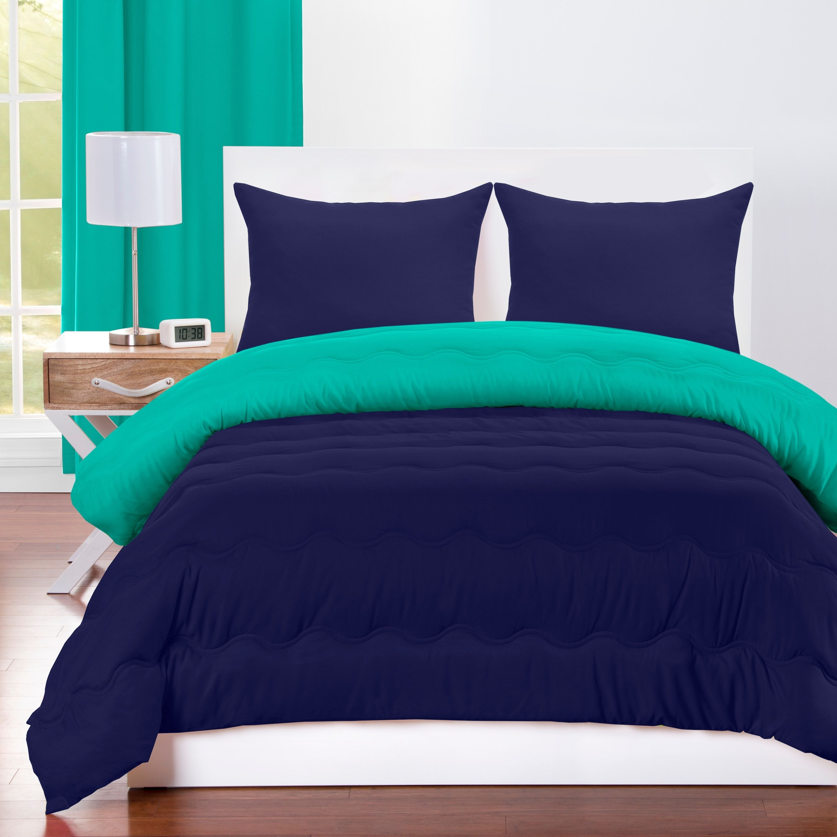 Crayola Blue Green And Navy Blue Reversible 3 Piece Comforter Set