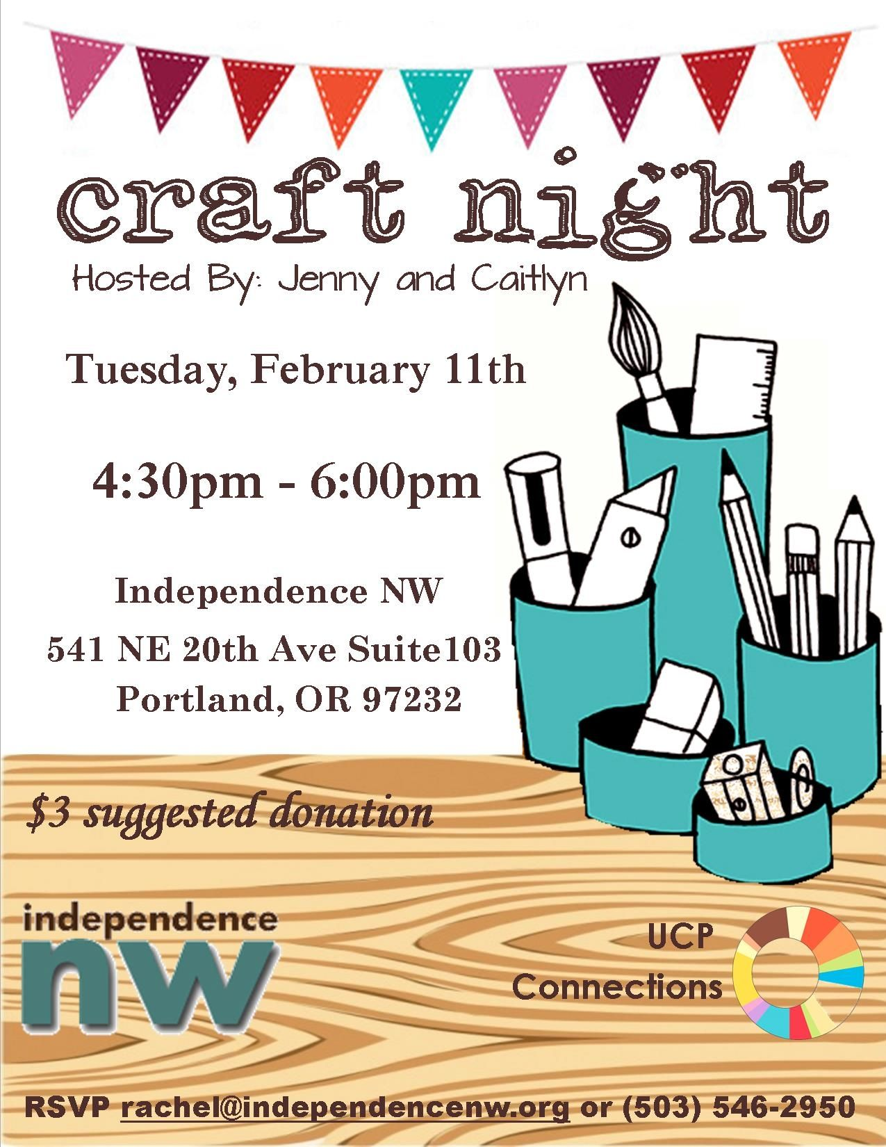 craft night ideas craft flyer with supplies and bunting http 1594