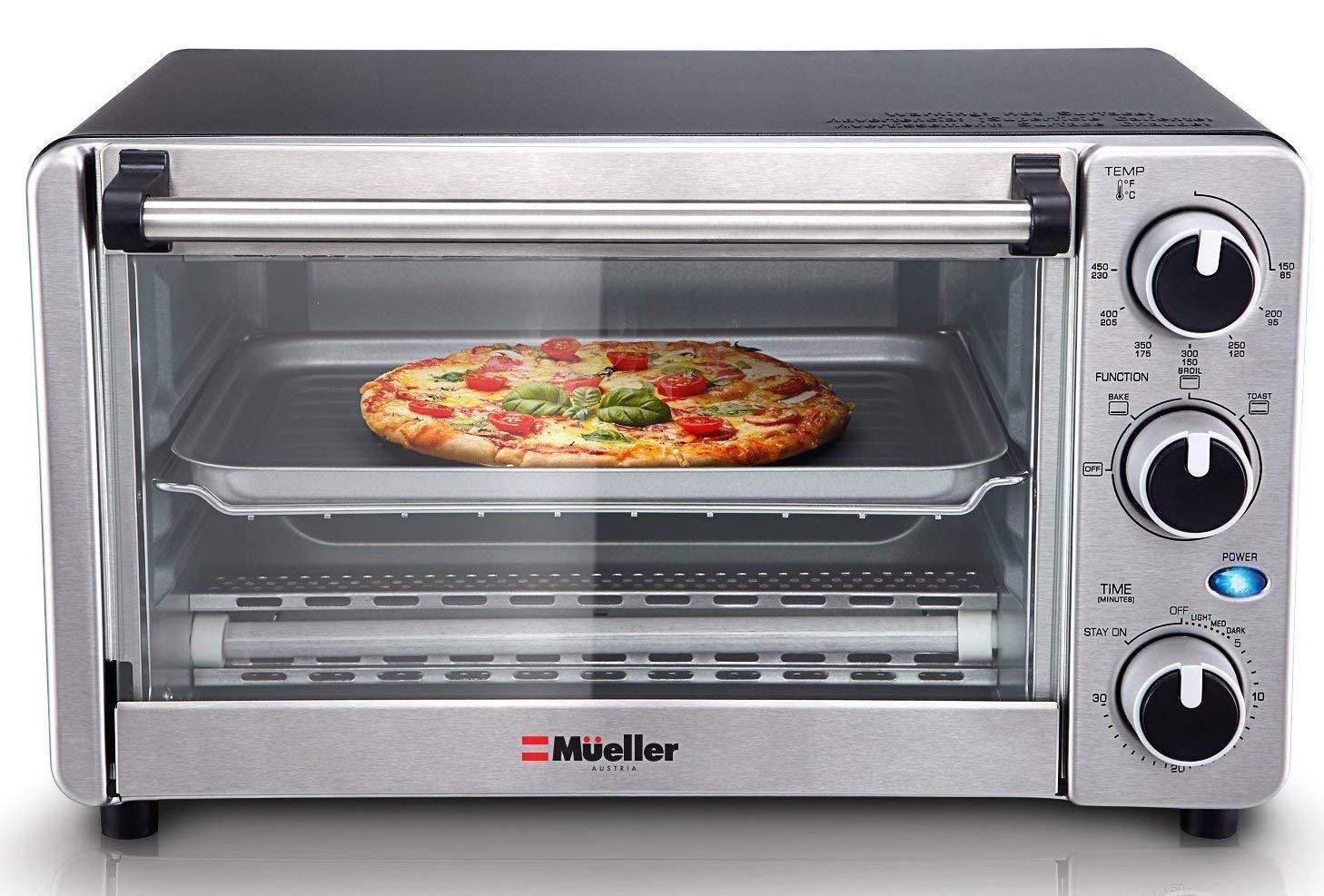 Toaster Oven 4 Slice Multi Function Stainless Steel Toast Bake
