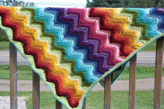 Crochet ripple chevron blanket ripple or by SunnybeeeDesigns ...