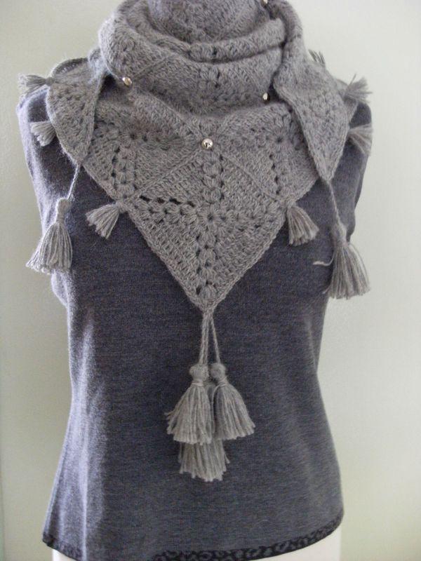 93ba9854724809 chèche phildar au crochet, j'adore cette personnalisation! | cuellos ...