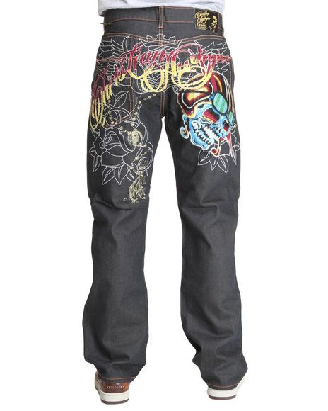 Men S Ed Hardy Christian Audigier Moto Skull Denim Jeans Urban Outfits Hip Hop Jeans Style Guides