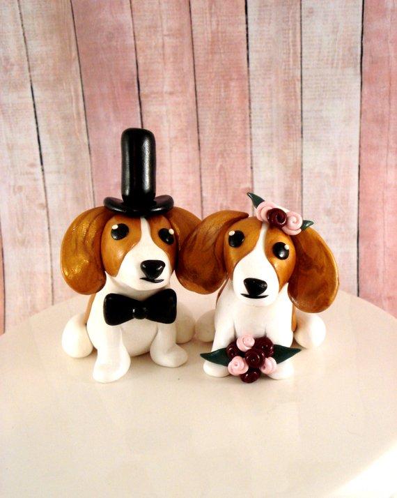 Beagle Wedding Cake Topper Bride And Groom Dog Wedding