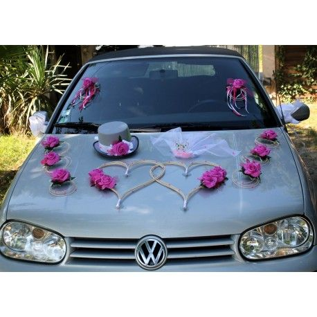 prix attractif boutique de sortie plutôt sympa Décoration de voiture mariage coeurs, chapeau et voile thème ...