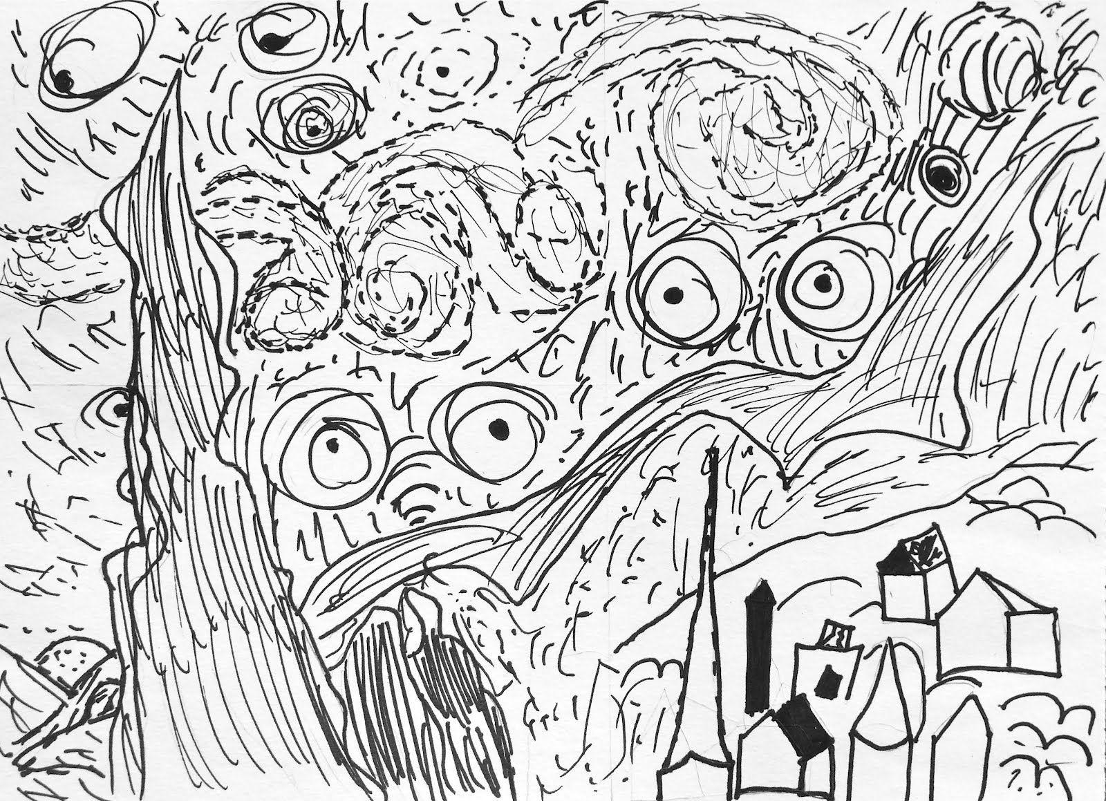 Van Gogh Coloring Pages | Blog-4-Students: Van Gogh Starry Night ...