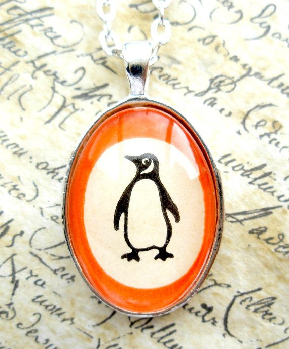 Unique Penguin Books Pendant Necklace made with real vintage book cover-  Literary gift for her on Etsy, £16.00