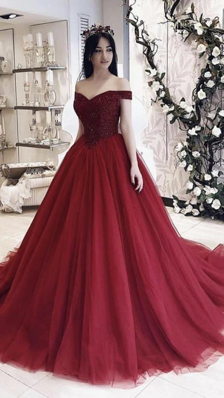 Burgundy Ball Gown Dress P3161