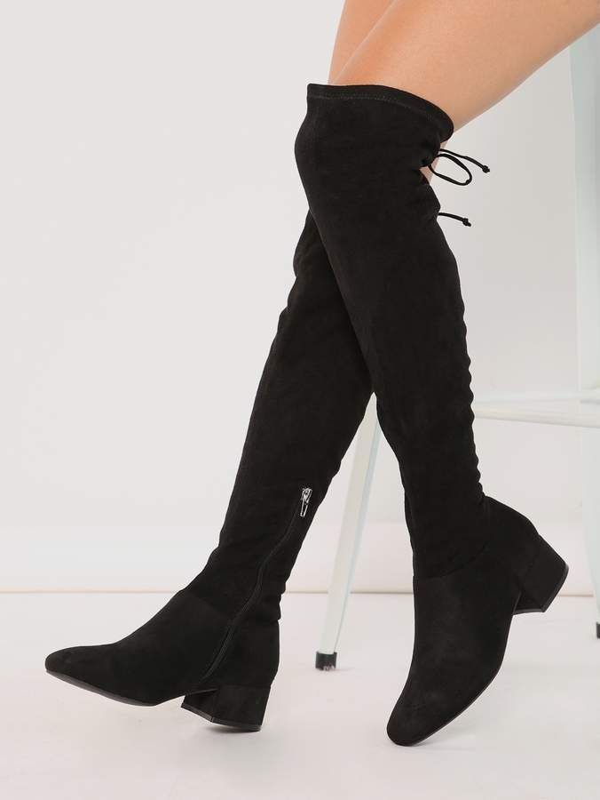 3eda513979 SheinShein Block Heel OTK Thigh High Drawstring Boots in 2019 ...