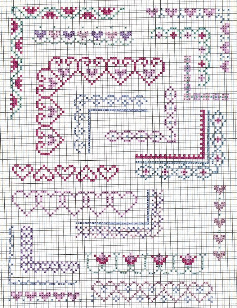 Bordüre … … | cross stitch borders | Pinte…