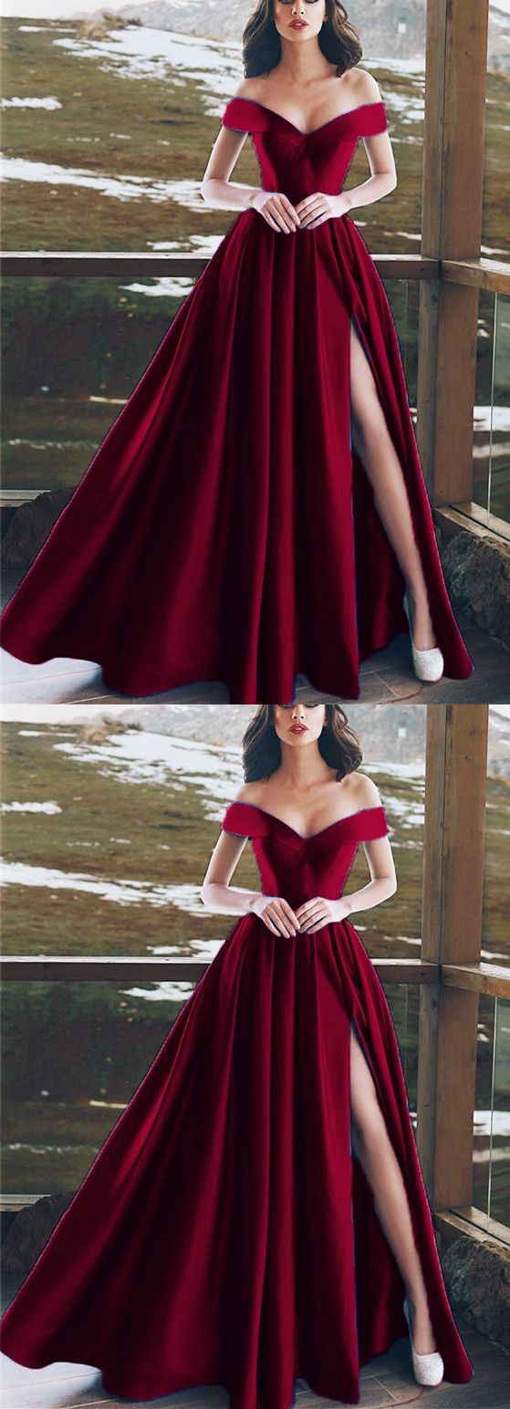 Burgundy satin vneck long prom dresses leg split evening gowns