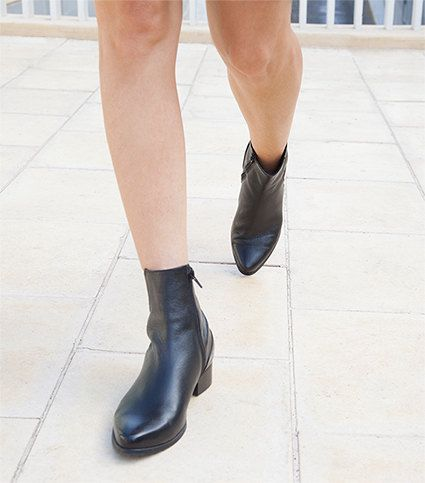 026095384d4 Black Pointed Toe Boots, Black Ankle Leather Booties for Women in ...