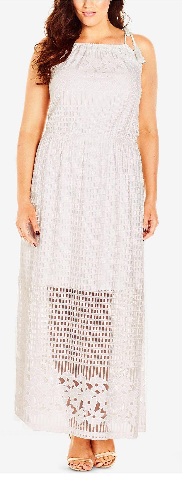 Plus Size Tie-Strap Illusion Maxi Dress | Chic maxi ...