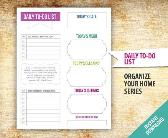 Daily To-Do List Planner Template - Printable - Organize