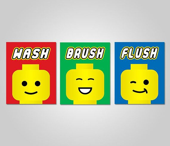 INSTANT DOWNLOAD DIY Printable Wall Art Lego Kids Bathroom ...