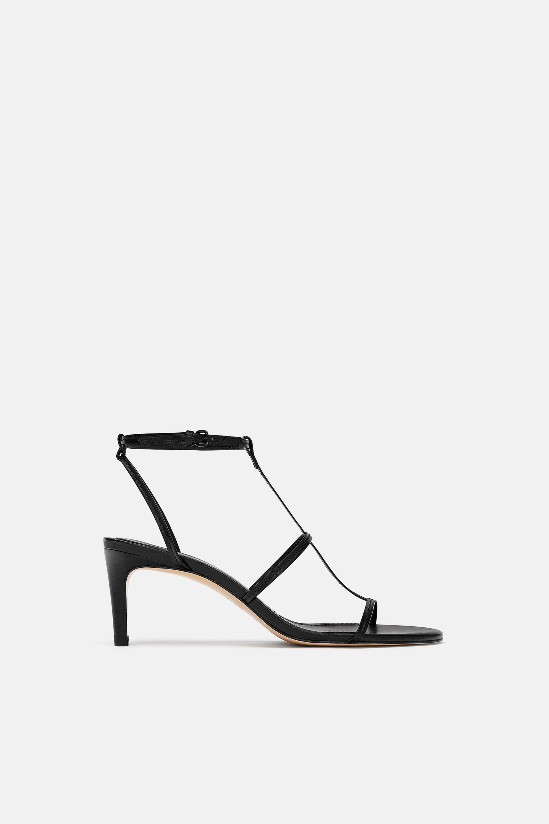 Image 1 of LEATHER HIGH HEELED STRAPPY SANDALS from Zara