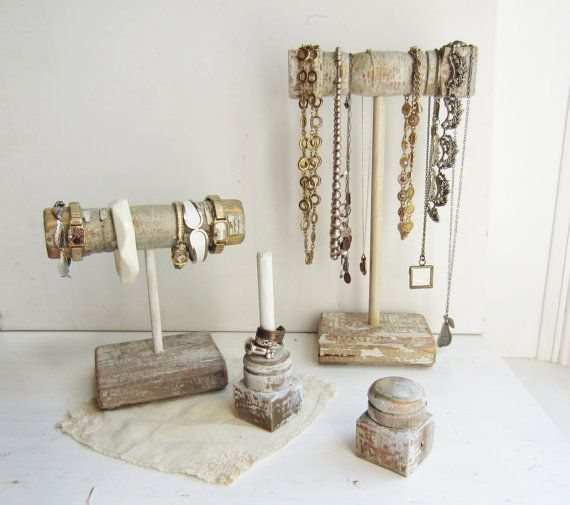 4 Piece Jewelry Holder Display Set For Bracelets Necklaces Rings Architectural Salvage Spindles Recycled Wood Retail