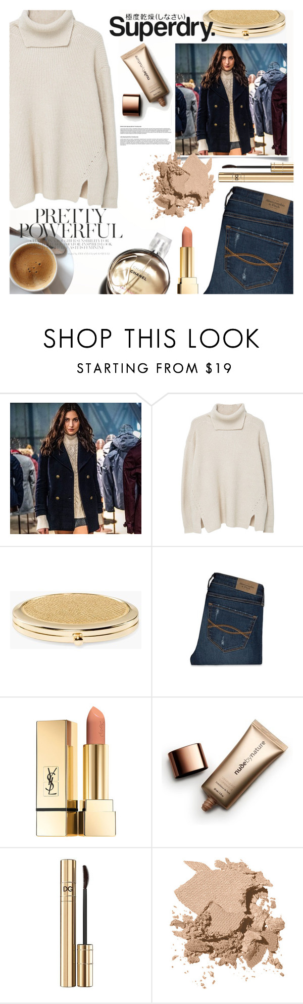 """The Cover Up – Jackets by Superdry: Contest Entry"" by jullan600 ❤ liked on Polyvore featuring Superdry, MANGO, Chico's, Abercrombie & Fitch, Chanel, Nude by Nature, Dolce&Gabbana and Bobbi Brown Cosmetics"