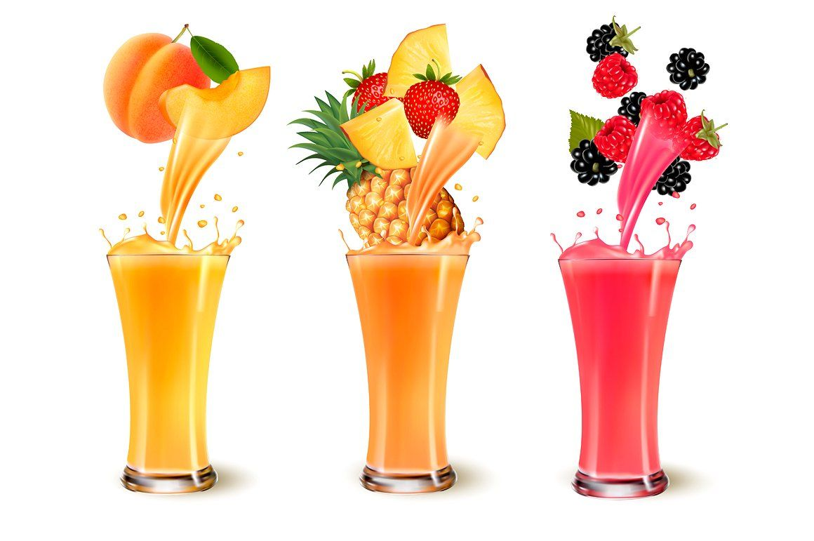 Set Of Fruit Juice Splash Fruit Juice Mixed Fruit Juice Fruit Juice Image