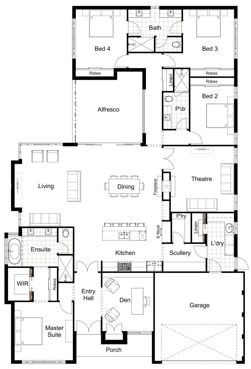 Floor Plan Friday 4 bedroom scullery eNook Hamptons Style