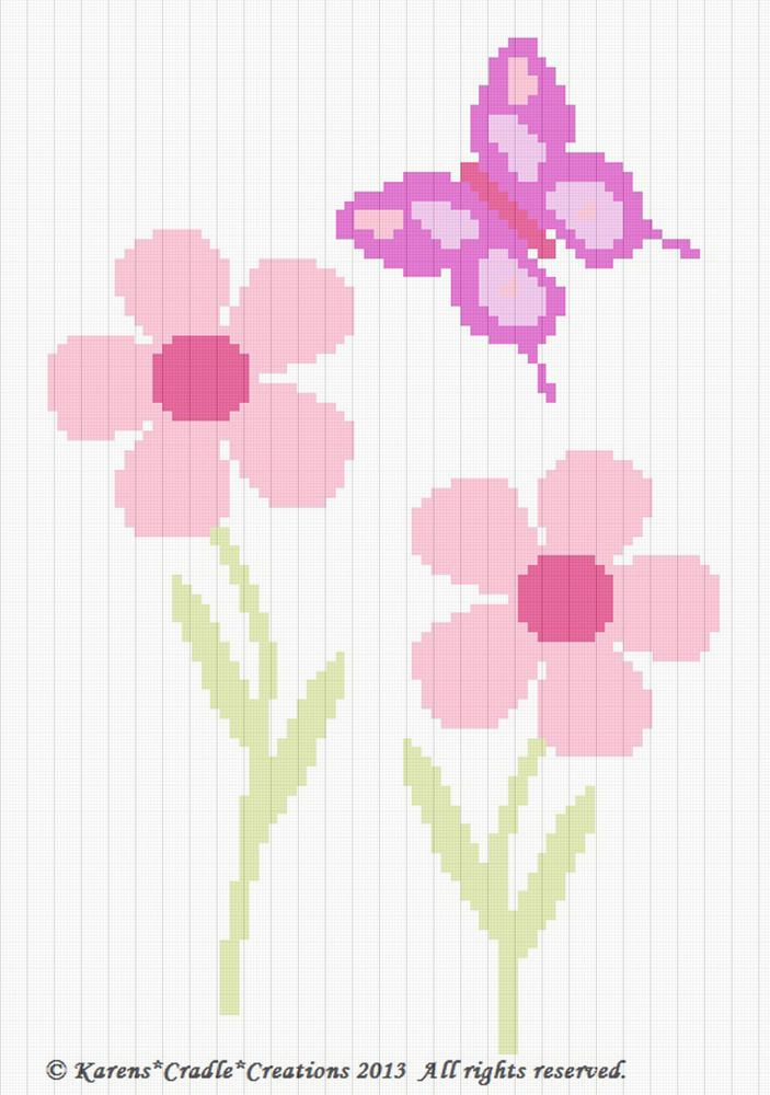 Crochet Patterns - DAISY FLOWERS WITH BUTTERFLY Baby Afghan Pattern ...