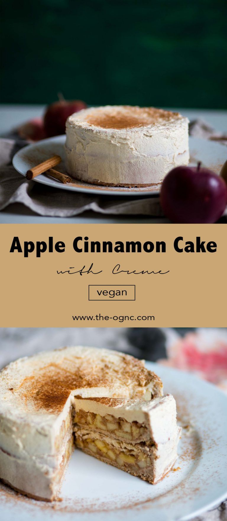 (Deutsch) Vegan Apple Cinnamon Cake with Cream - einfach und lecker