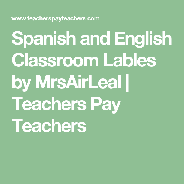 Spanish And English Classroom Lables (With Images