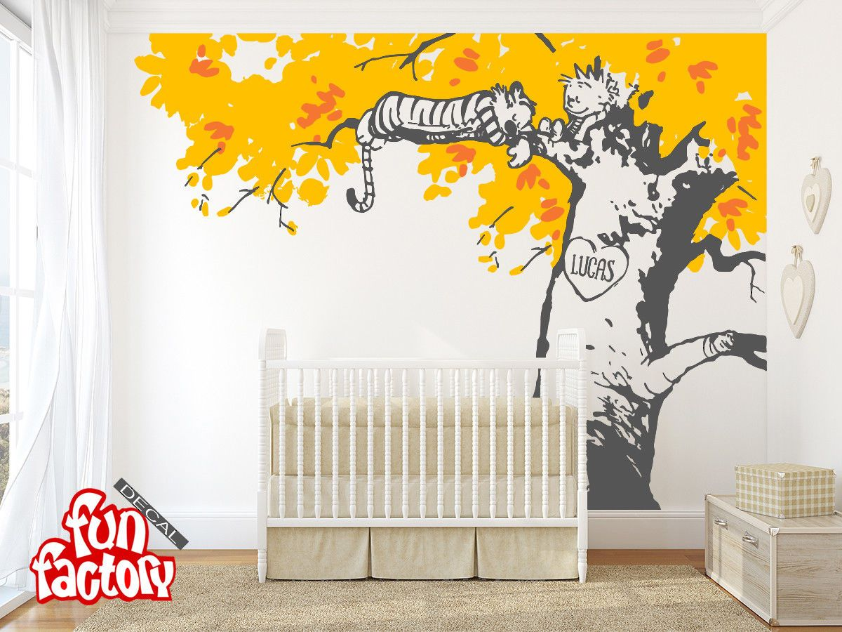 Calvin And Hobbes Sleeping On Tree Wall Decal Kids Nursery Room Sticker 0046k