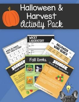The Halloween & Harvest Activity Pack has everything you need to plan an exciting classroom party or to put a little fall fun into your day!The pack includes:- Recommended fall read aloud books- 6 recipes to enjoy (students can even participate in making the snacks!)- Four corners game with Halloween posters- Math riddle activity (addition and subtraction)- 2 word searches- Wacky Laboratory science investigation with recording sheets and labels- Over 20 hilarious photobooth props
