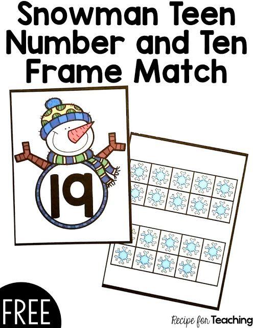FREE Snowman Teen Number and Ten Frame Match card game! Math - ten frame template